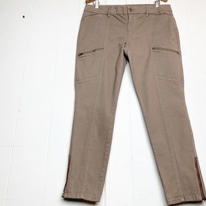 WHBM The Skimmer cargo pants with zippers tobacco